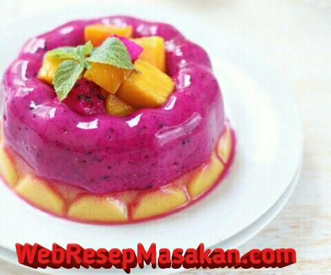 Puding buah naga, Puding buah naga mangga, Resep Puding Buah Naga Mangga,