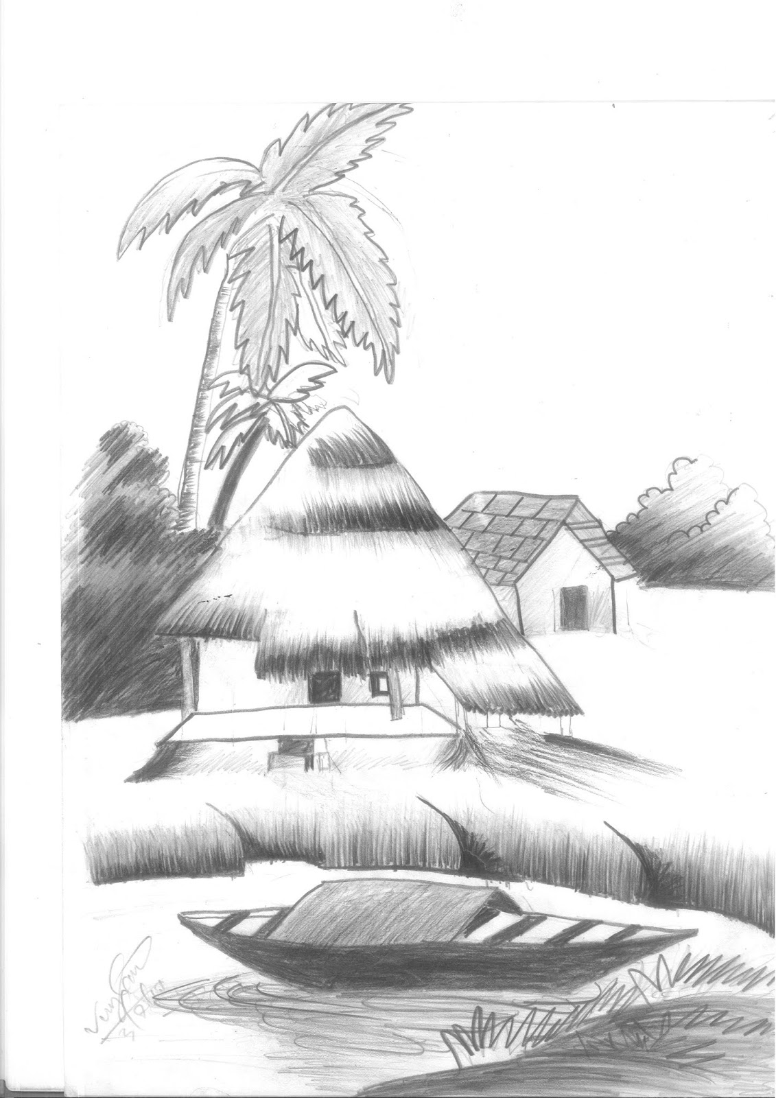 Village nature pencil sketch