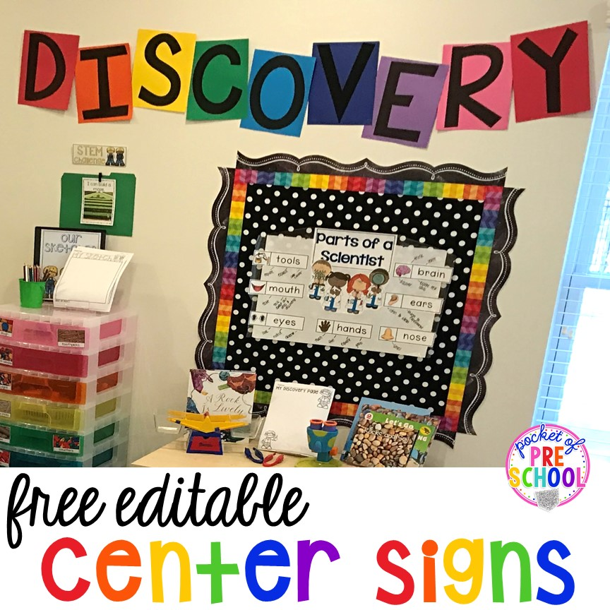 FREE  EDITABLE Center signs! Easy to make classroom decor for preschool up to 5th grade!