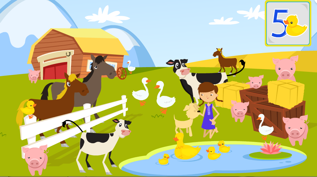 http://duckiedeck.com/play/counting-farm-animals