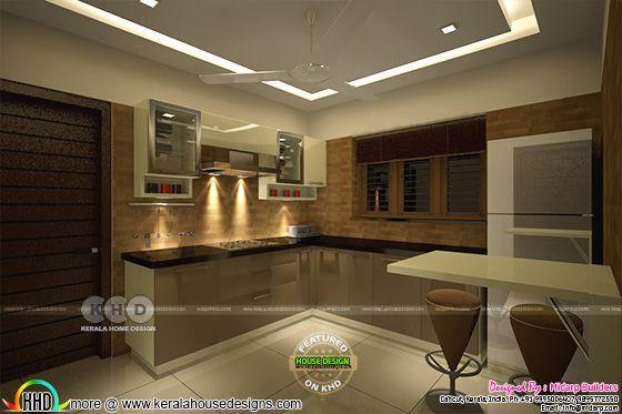 Living, Dining, Bedroom, Kitchen interios in Kerala