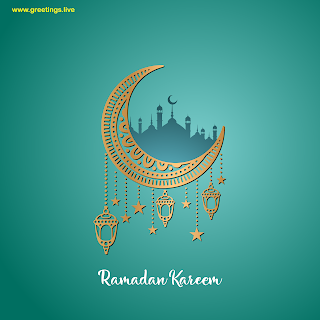 Ramadan kareem wishes with crescent moon mosque fanoos lantern.