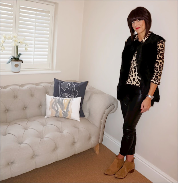 My Midlife Fashion, Zara leopard print blouse, the white company reversible sheepskin gilet, french connection faux leather trousers, zara cowboy heel ankle boots