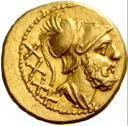 Moneda de oro de 40 asses - 211 a.C. - Crawford 44/3 anverso