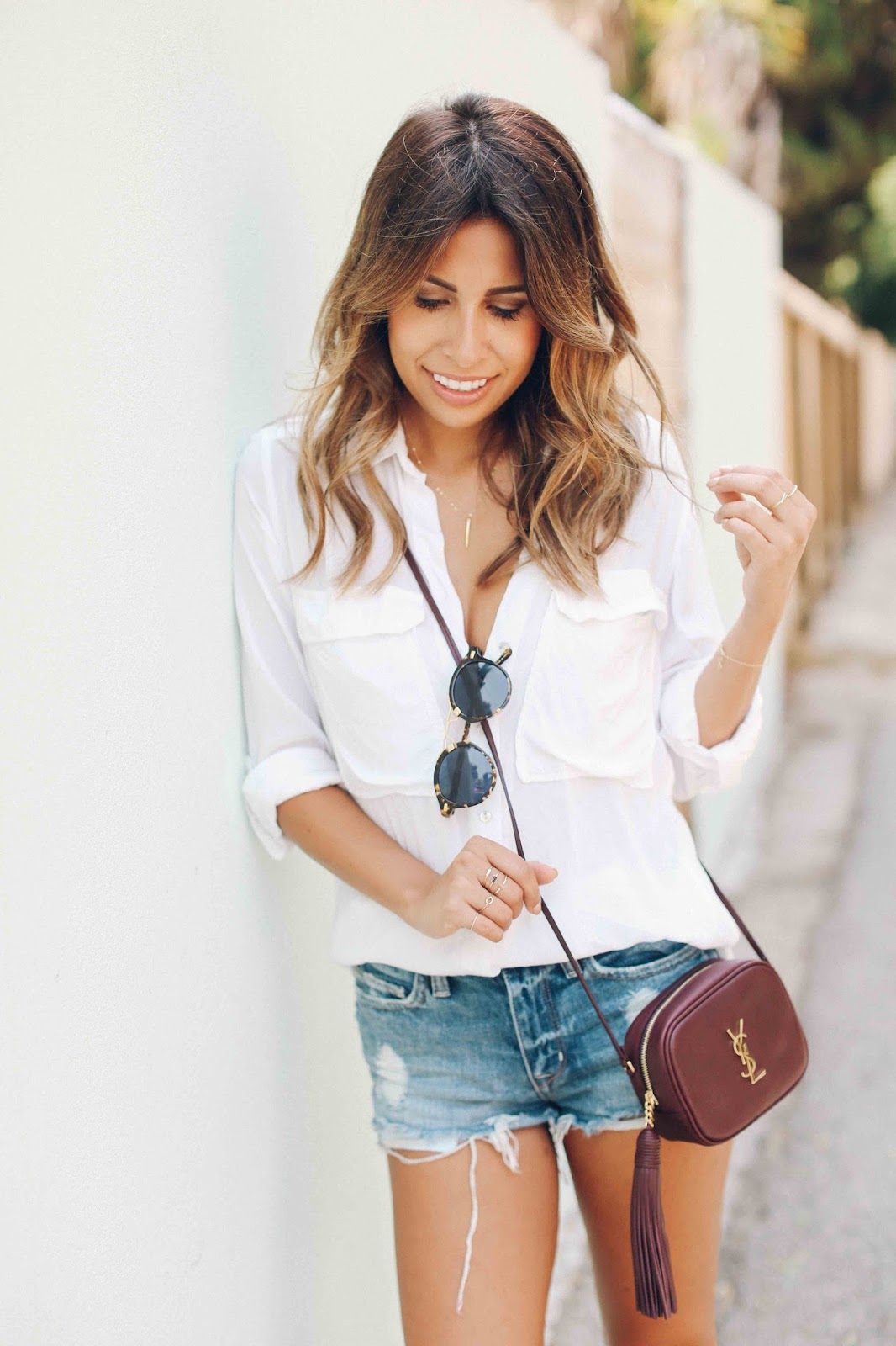ysl blogger bag, casual denim shorts and white tee outfit