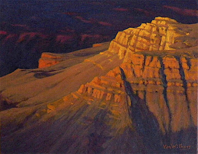 grand canyon art oil painting of last light on a formation km withers southwest art