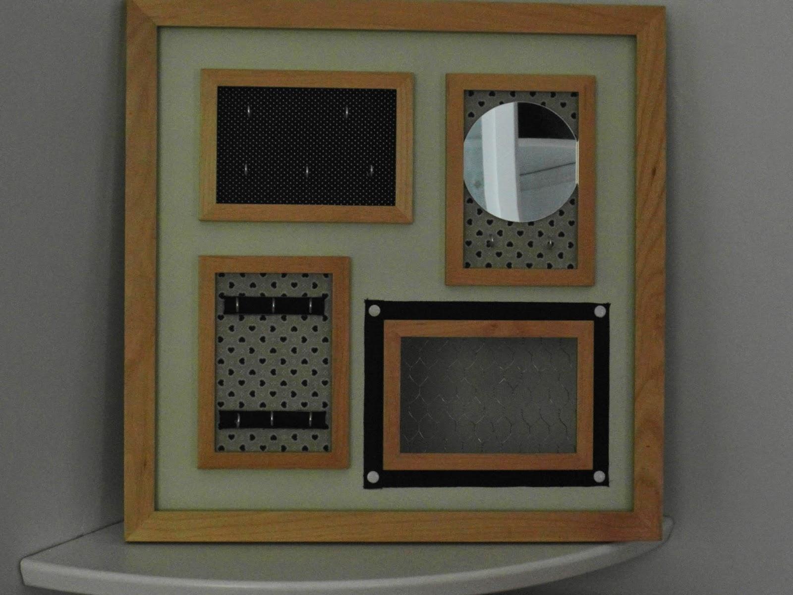 mimie cr ation porte bijoux cadre carr avec petit miroir originale. Black Bedroom Furniture Sets. Home Design Ideas