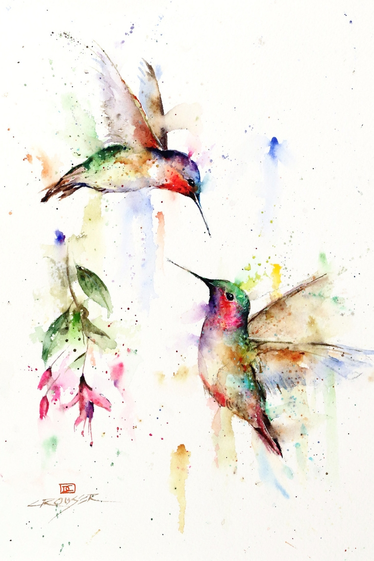 07-Meeting-Place-Hummingbirds-Dean-Crouser-A-Love-of-the-Outdoors-Spawns-Animal-Watercolor-Paintings-www-designstack-co