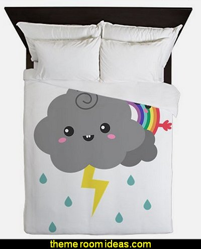 Kawaii Rainbow Behind Every Dark Cloud Queen Duvet