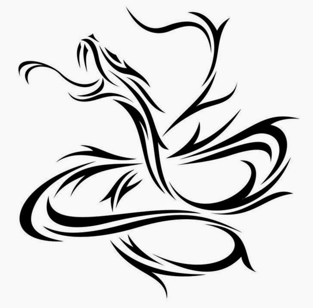 Snake chinese zodiac tattoo stencil