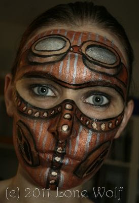 Special fx steampunk makeup bronze robot with rivets and gear - steampunk face painting