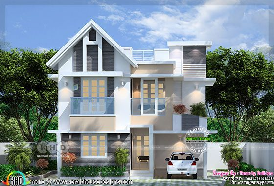 1455 square feet Beautiful European model home exterior in Kerala