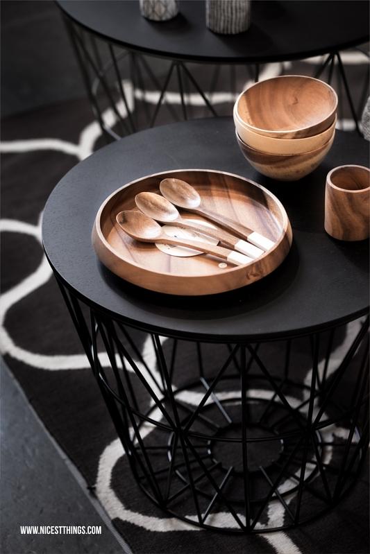Ferm Living Wire Basket Tisch mit Tablett schwarz