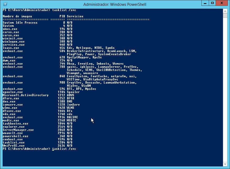 Servicios que ejecutan procesos en Windows