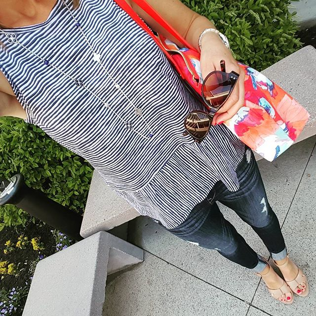 Old Navy Relaxed Peplum Top - on sale for $9 (reg $17), use the daily online code to save even more (mine was under $6!) // Express Distresses Legging Jeans - buy 1 get 1 for $30 // Ivanka Trump Wedges (similar) // Trina Turk Tote (similar - 50% off) // Betsey Johnson Sunglasses (almost exact on sale for $20, reg $50)