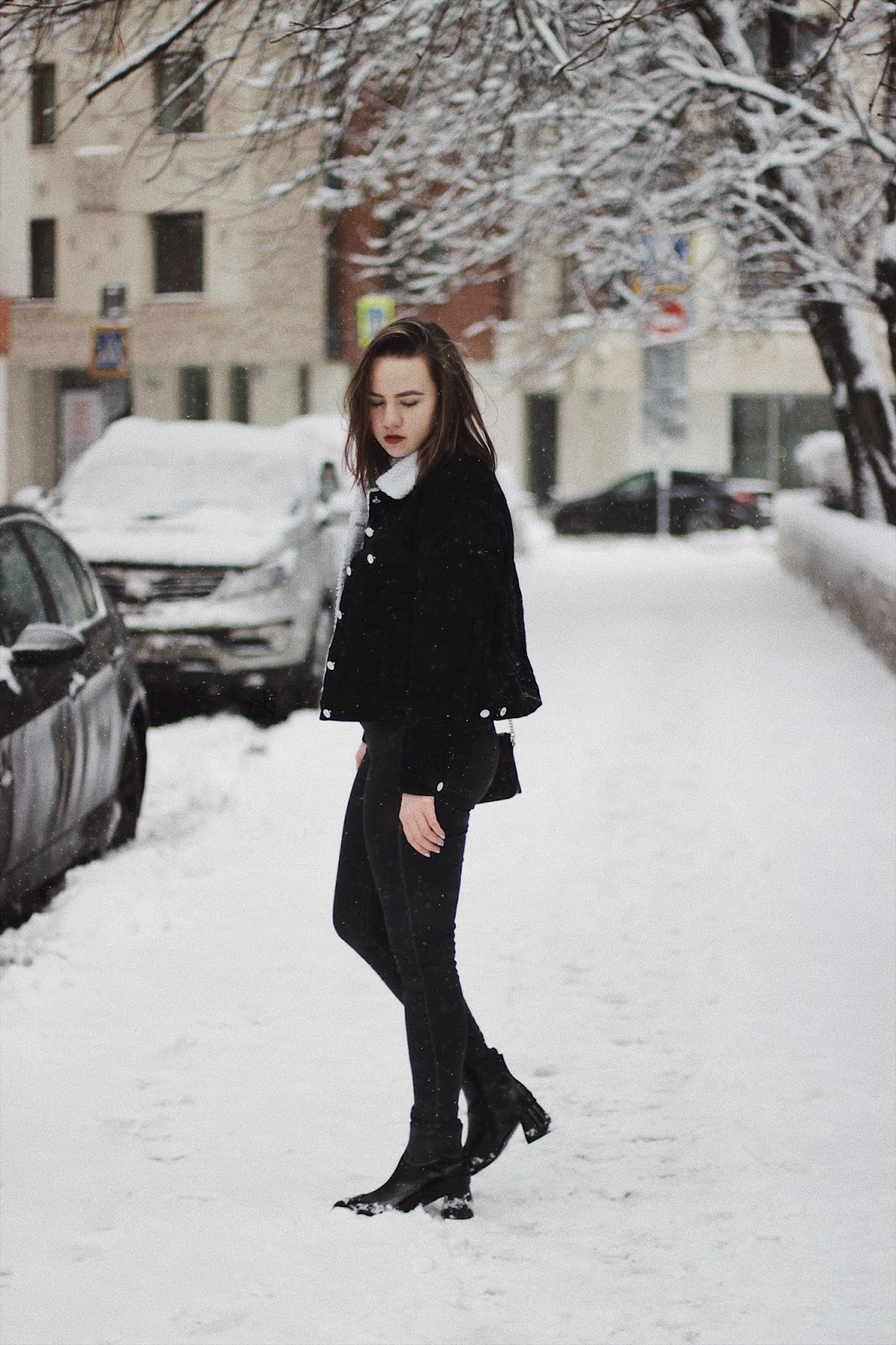 Fashion Blogger | Denim Shearling Jacket Look