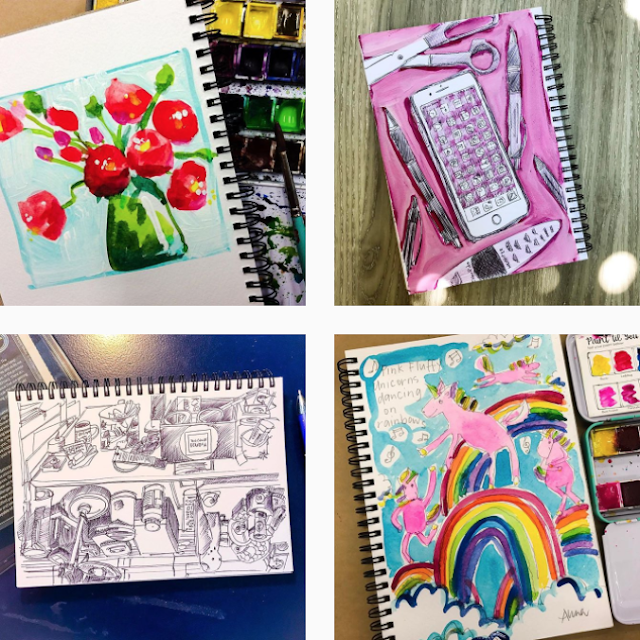 Anna Bartlett, Shiny Happy Art, Sketchbook Conversations, Sketchbooks, My Giant Strawberry