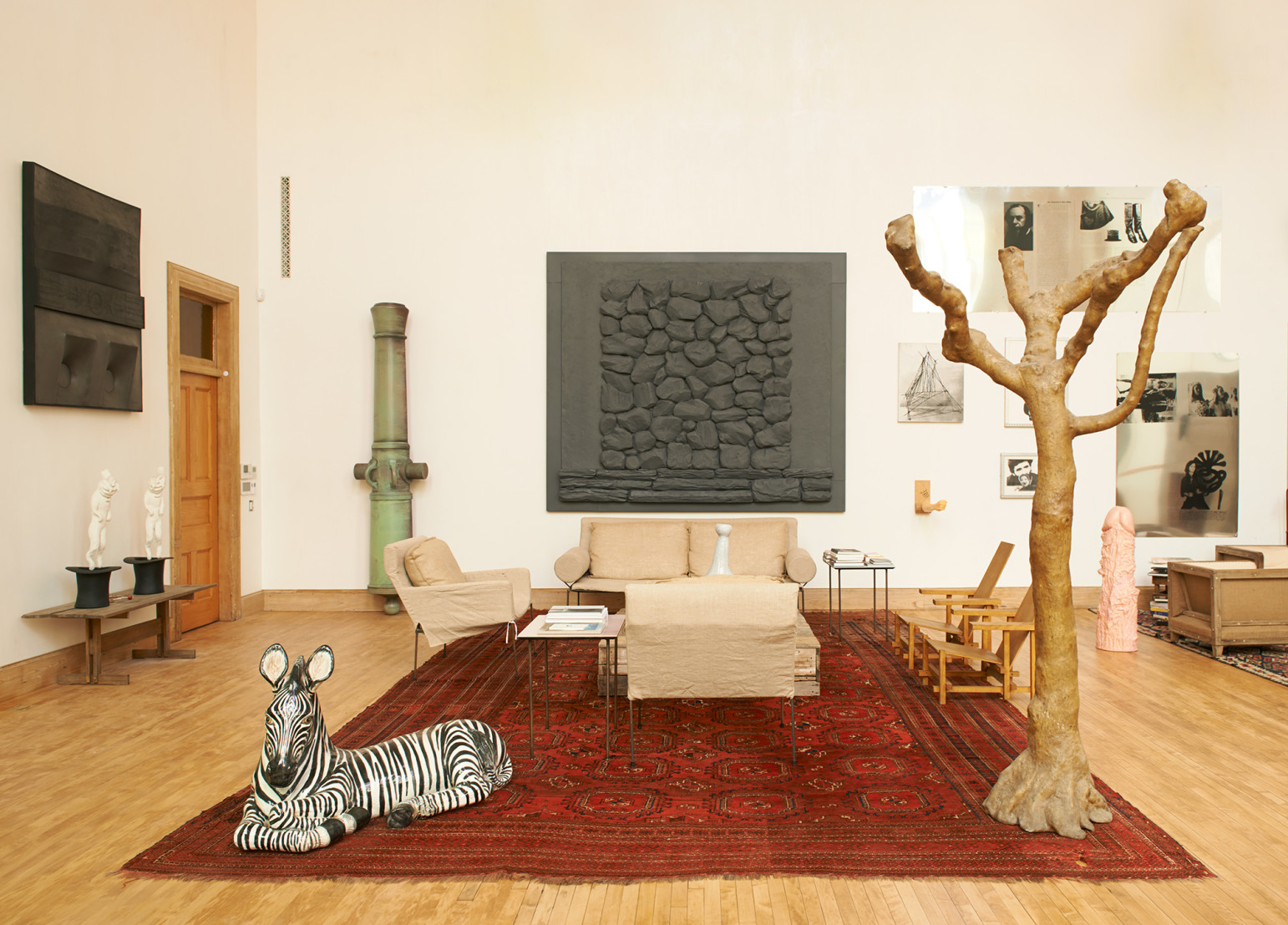 2017 05 morning wood alexander masson sandra rose - An Italian Ceramic Zebra Holds Court In The Living Room Among Rondinone S Tree Sculpture Bright Shiny Morning 1997 Sarah Lucas S Phallic Oboddaddy 2