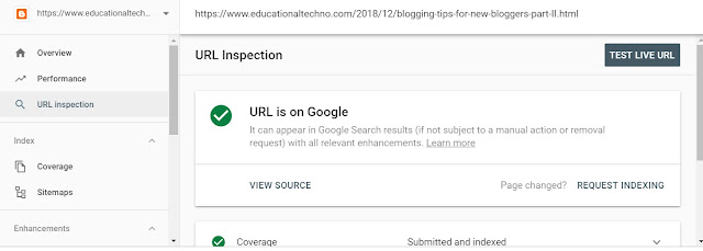 Testing URL in google search console