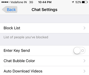 KIK Chat Settings