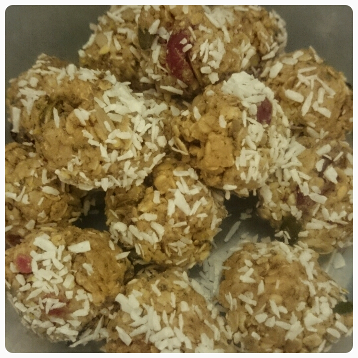 protein snack balls rolled in coconut