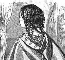 Opera coiffure of ringlets and chignon, from Godey's, 1858