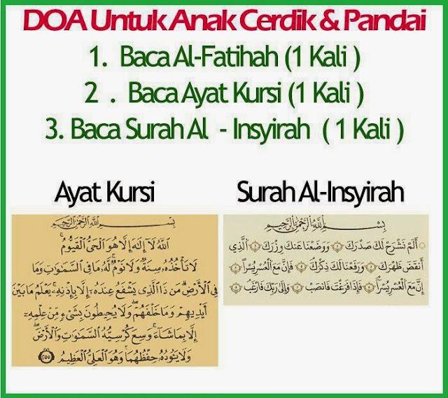 DOA untuk Anak Bijak ,  Doa anak cerdik, surah Al fatihah Surah Al Insyirah Ayat Kursi