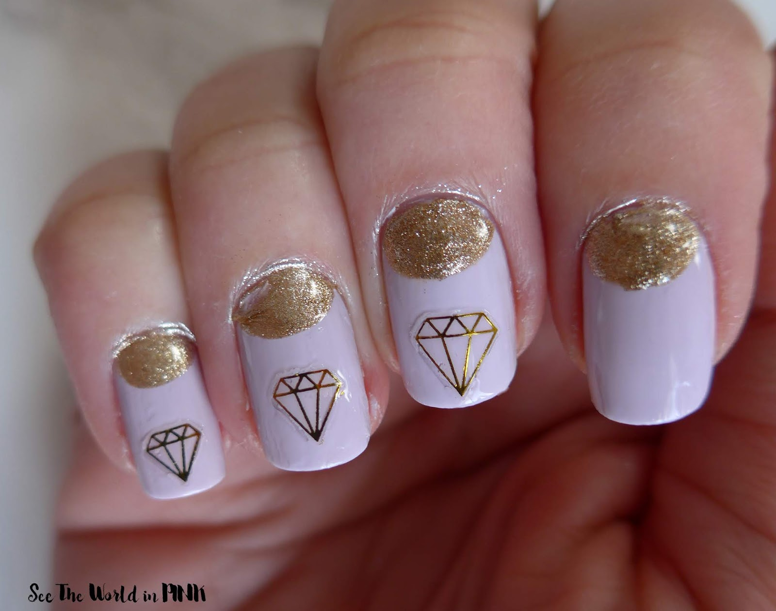 Manicure Monday - Purple and Gold Diamond Wedding Nails