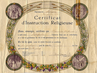 Religious Instruction Certificate of Maurice Belair