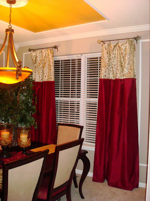 red and gold drapes dining room