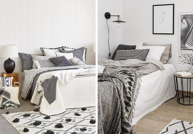 ropa de cama blanca y negra