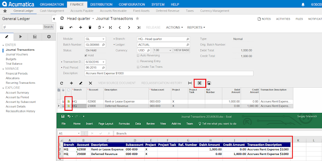 export notes to the excel file acumatica
