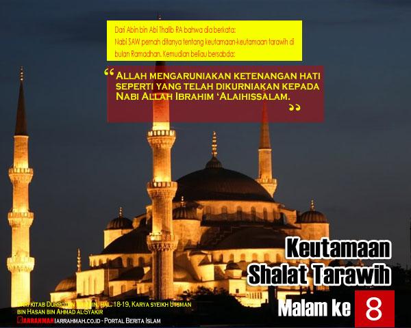 Keutamaan Sholat Tarawih Malam Kedelapan Ramadhan