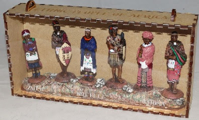 6 MINI TRIBAL FIGURES IN DISPLAY BOX LABELLED