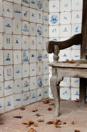 Handpainted European style Mediterranean handpainted tile in gorgeous room on Hello Lovely Studio
