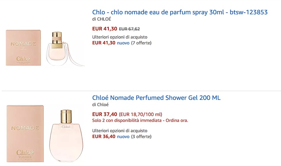 prezzo profumo chloe nomade amazon