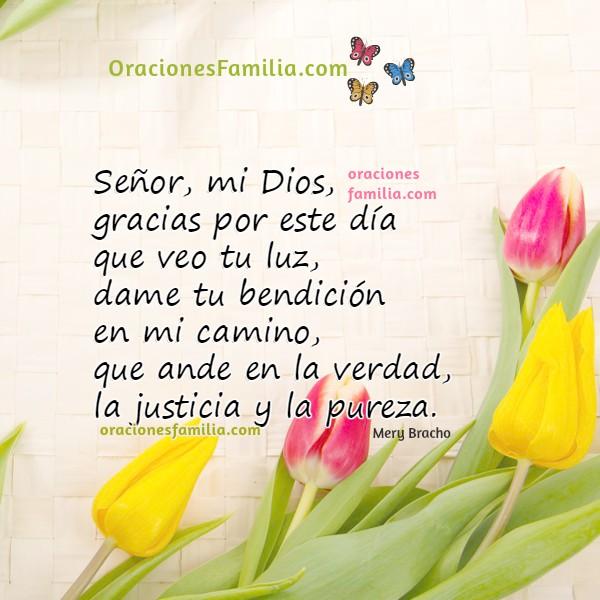 Imágenes con oraciones de la mañana, oración corta bonita por Mery Bracho para este día, gracais a Dios, lindas tarjetas para facebook cristianas.