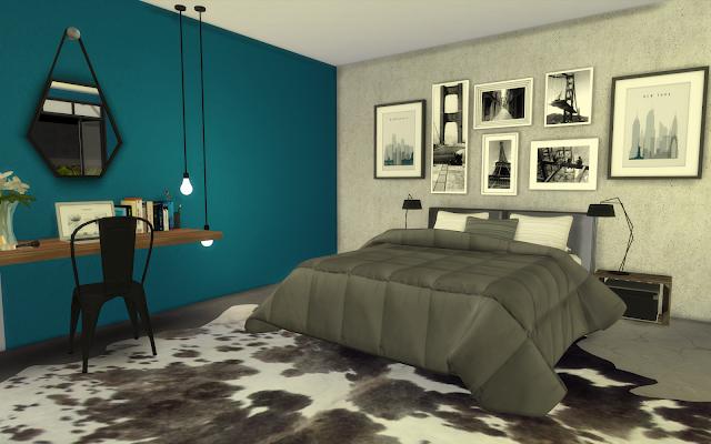 chambre bleue sims 4