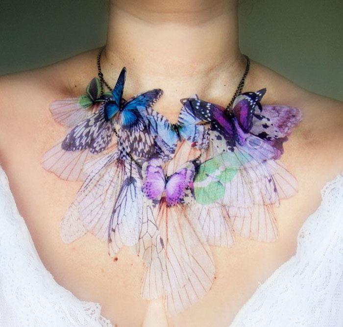 Accesorios inspirados en mariposa que revolotean sobre la piel