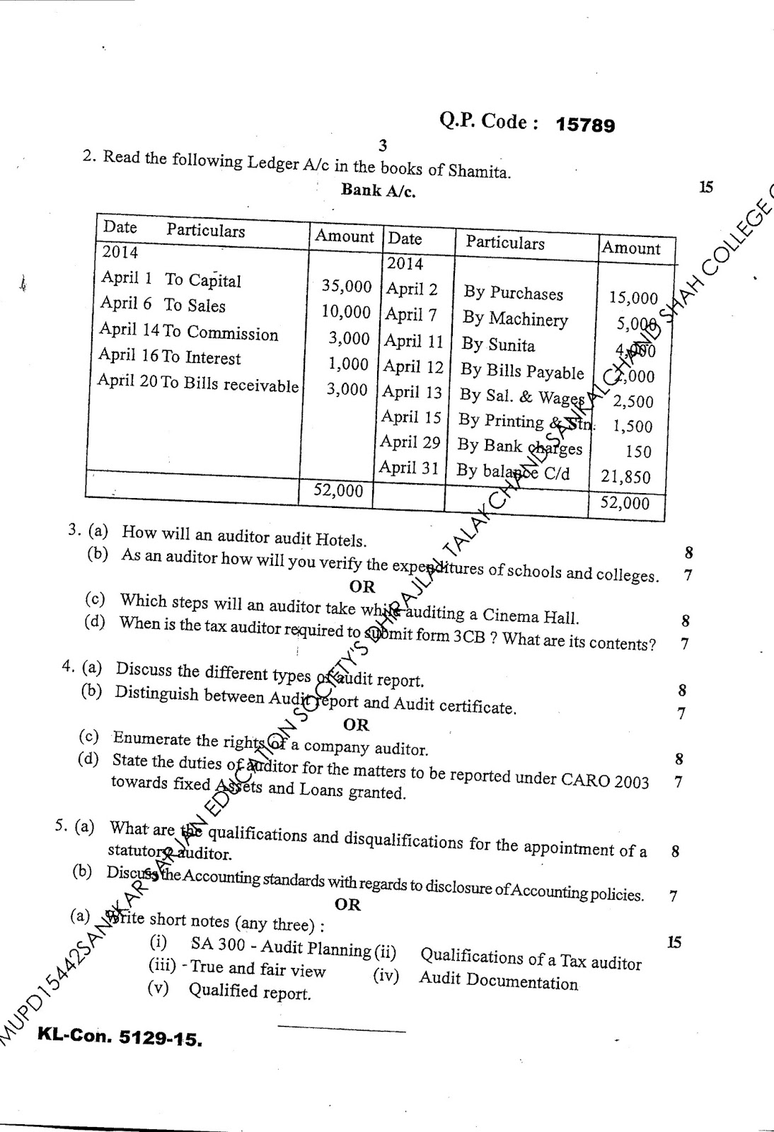 Question Papers Collection: TY BAF Sem VI, Auditing, 2015