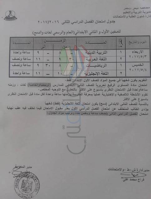 جدول امتحانات الصف الثاني الابتدائي 2016 الترم الثاني محافظة البحر الاحمر