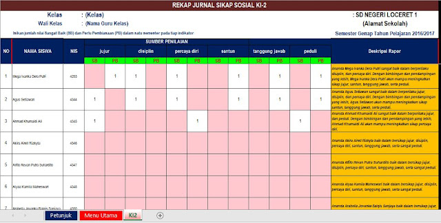 Aplikasi Rapor SD 2013 Excel versi 2017