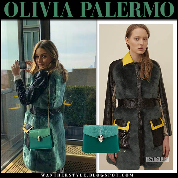 Olivia Palermo in green fur coat kim shui with green bvlgari serpenti shoulder bag celebrity winter chic style december 2018