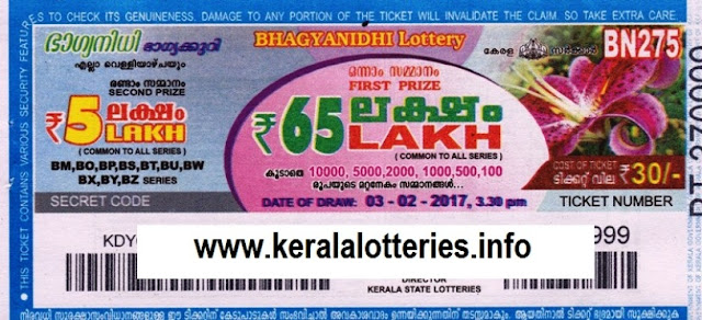 Kerala lottery result live of Bhagyanidhi (BN-217) on 18 December 2017
