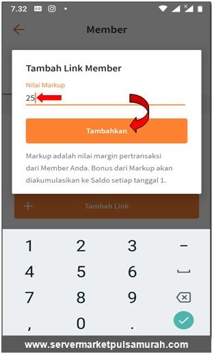 tambahkan markup kode referral di aplikasi android market mobile topup