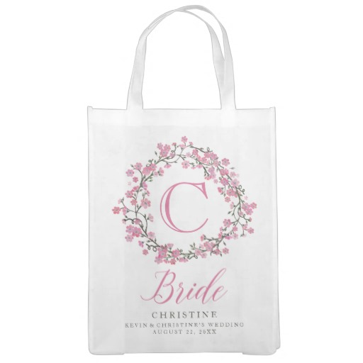 Personalized Floral Wreath Monogram Bride Tote Bag