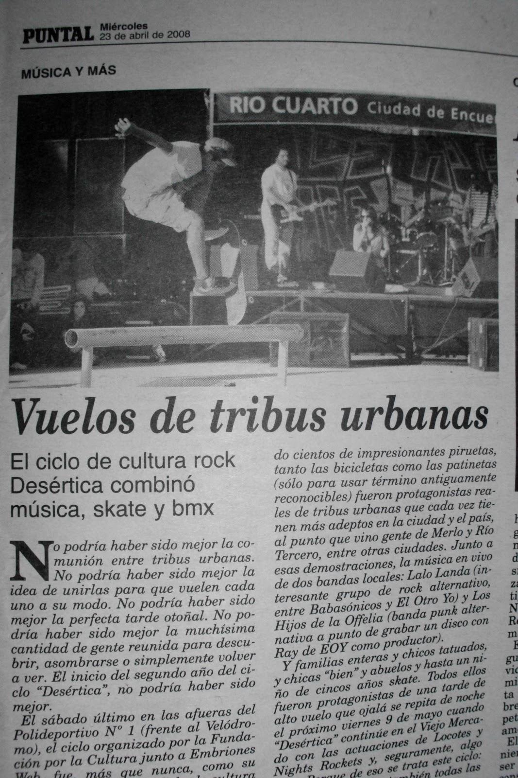 Proyecto Rock Río Cuarto: Ciclo Desertica año 2008 Diario Puntal