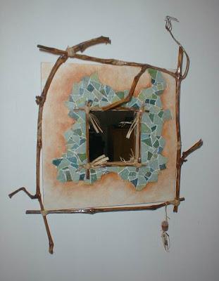 miroir de créateur carré en pâtes de verre et branches de vigne tout l'univers créatif de séverine peugniez
