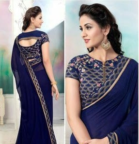 Image result for zipper blouse plain saree