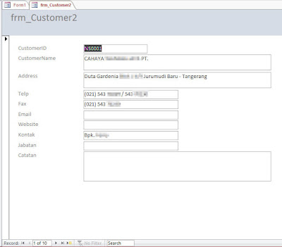 Form Invoice - Contoh Aplikasi Database MS Access